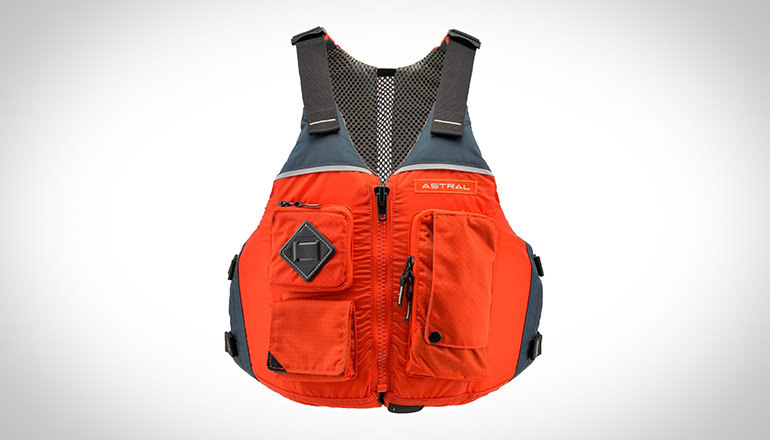 Red PFD for kayaking