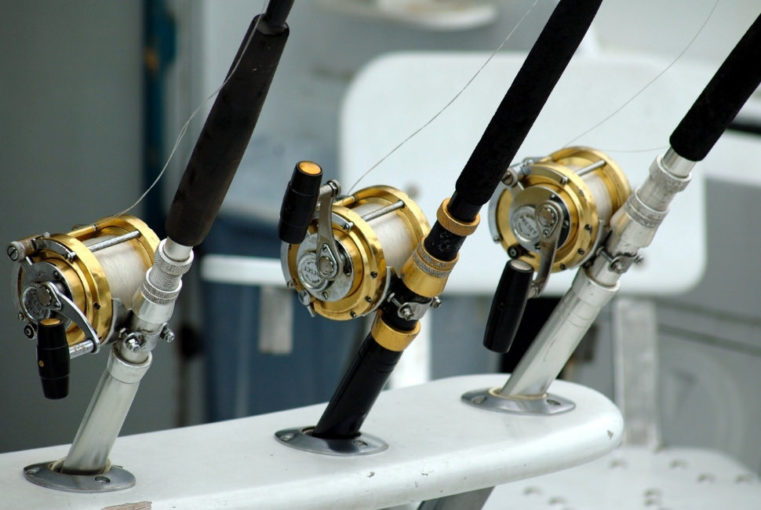 black and golden fishing reel