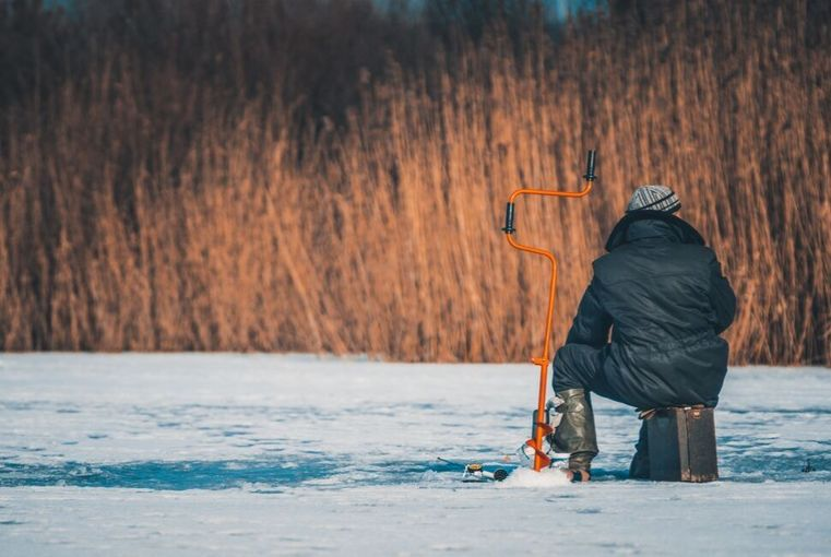 A Guy Ice Fishing