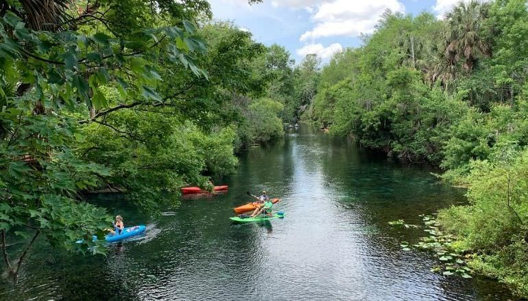 people kayaking in the silver springs river Florida
